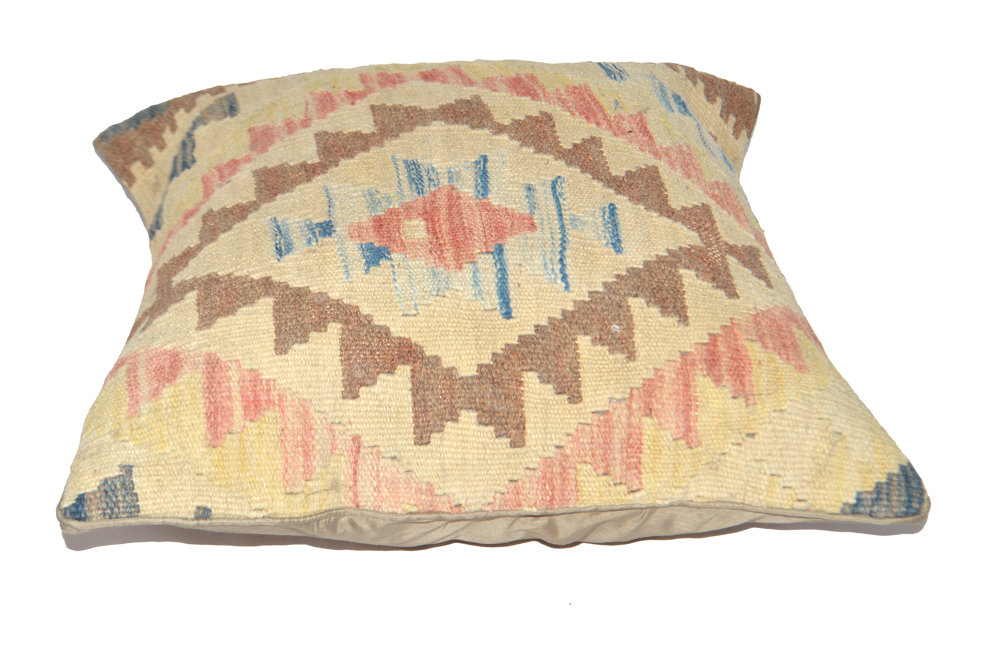 Orientalische Antik Kelim Kissen Unikat aus Wolle, handgewebte Dekokissen, Vintage AKS 009 Größe 45 x 45 cm