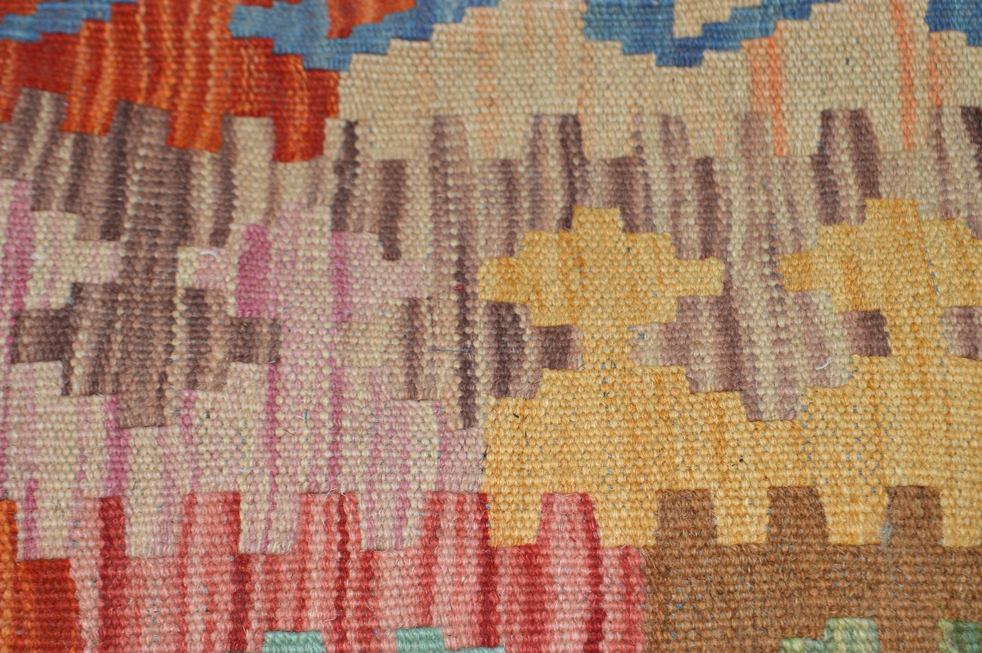 Orientalische Antik Kelim Kissen Unikat aus Wolle, handgewebte Deko Kissen, Vintage AKS 030 Größe 47 x 43 cm