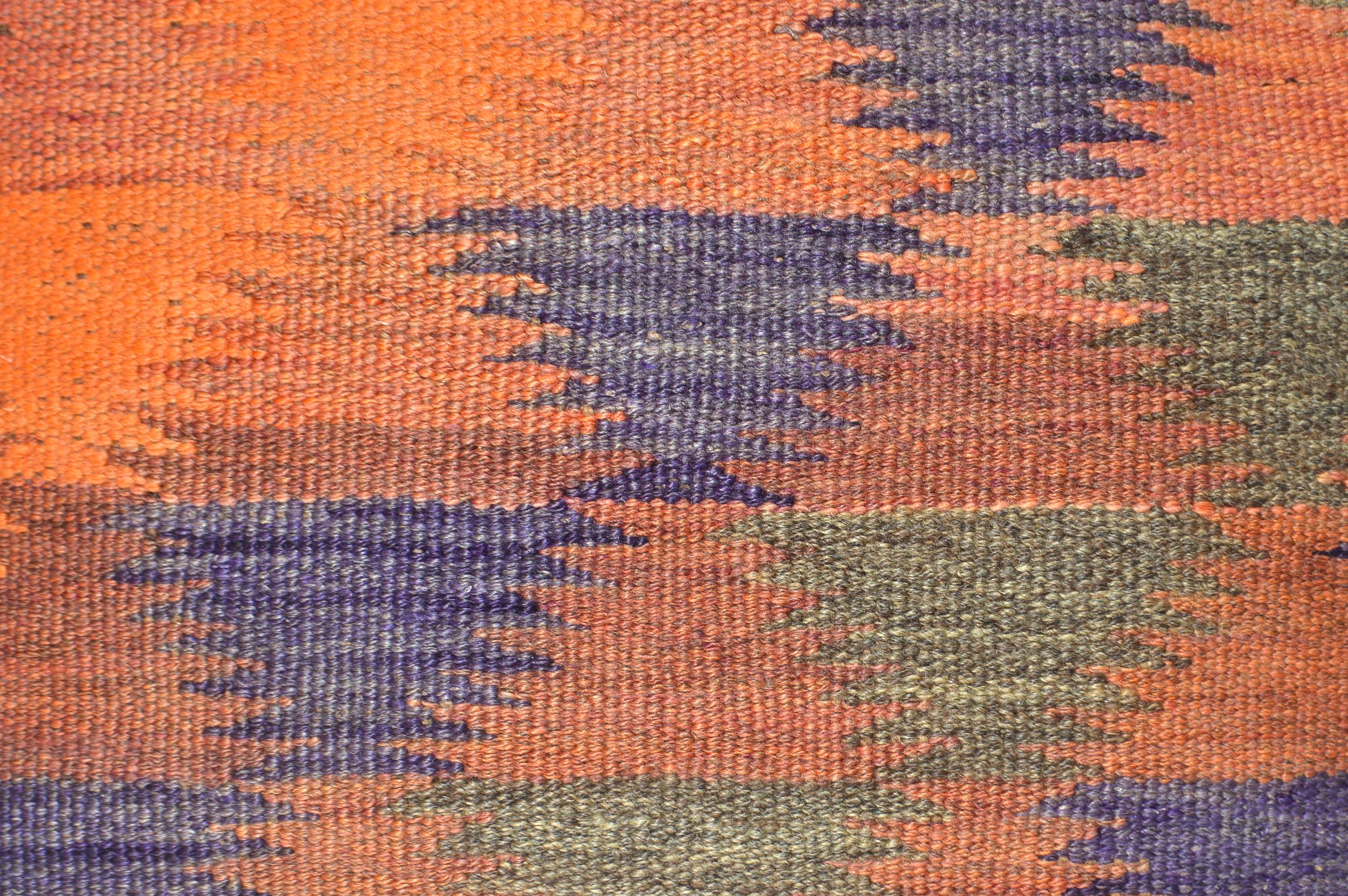 Orientalische Antik Kelim Kissen Unikat aus Wolle, handgewebte Dekokissen, Vintage AKS 012 Größe 40 x 40 cm