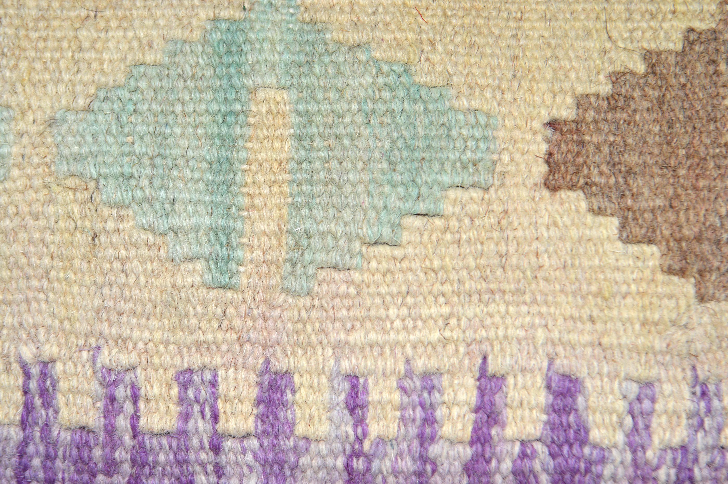 Orientalische Antik Kelim Kissen Unikat aus Wolle, handgewebte Dekokissen, Vintage AKS 007 Größe 45 x 45 cm