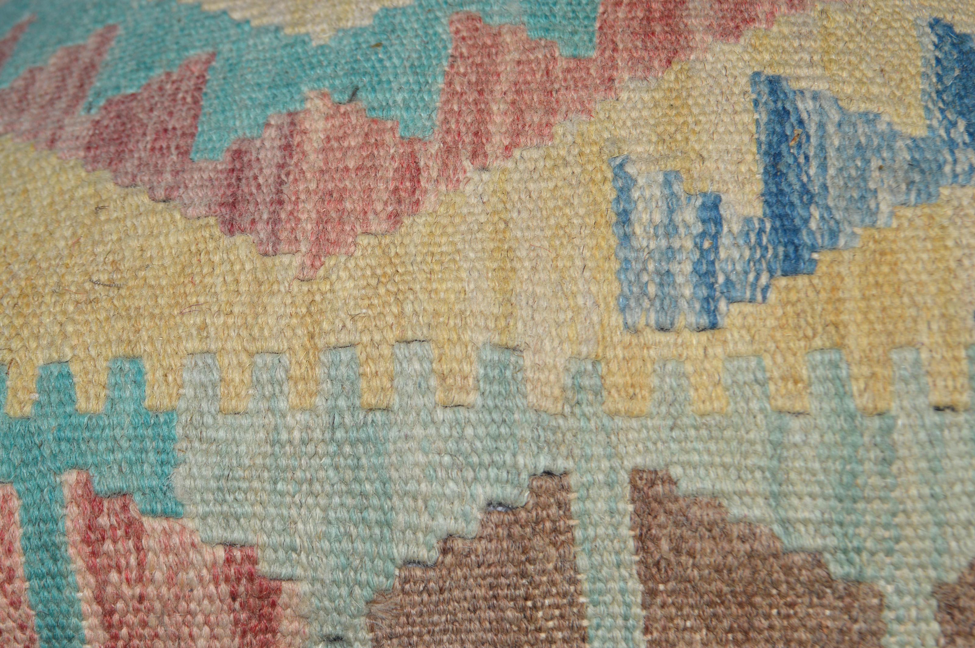 Orientalische Antik Kelim Kissen Unikat aus Wolle, handgewebte Dekokissen, Vintage AKS 005 Größe 45 x 45 cm