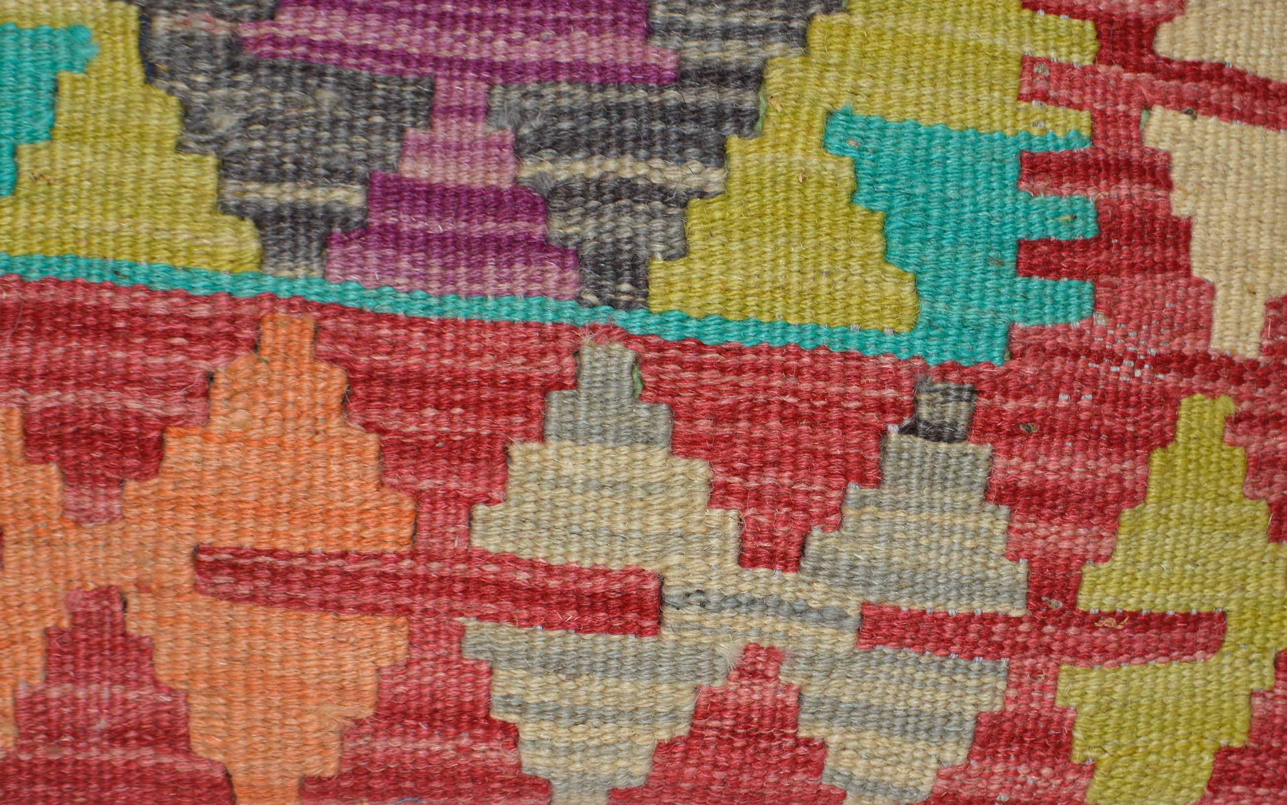 Orientalische Antik Kelim Kissen Unikat aus Wolle, handgewebte Deko- Kissen, Vintage AKS 031 Größe 45 x 45 cm