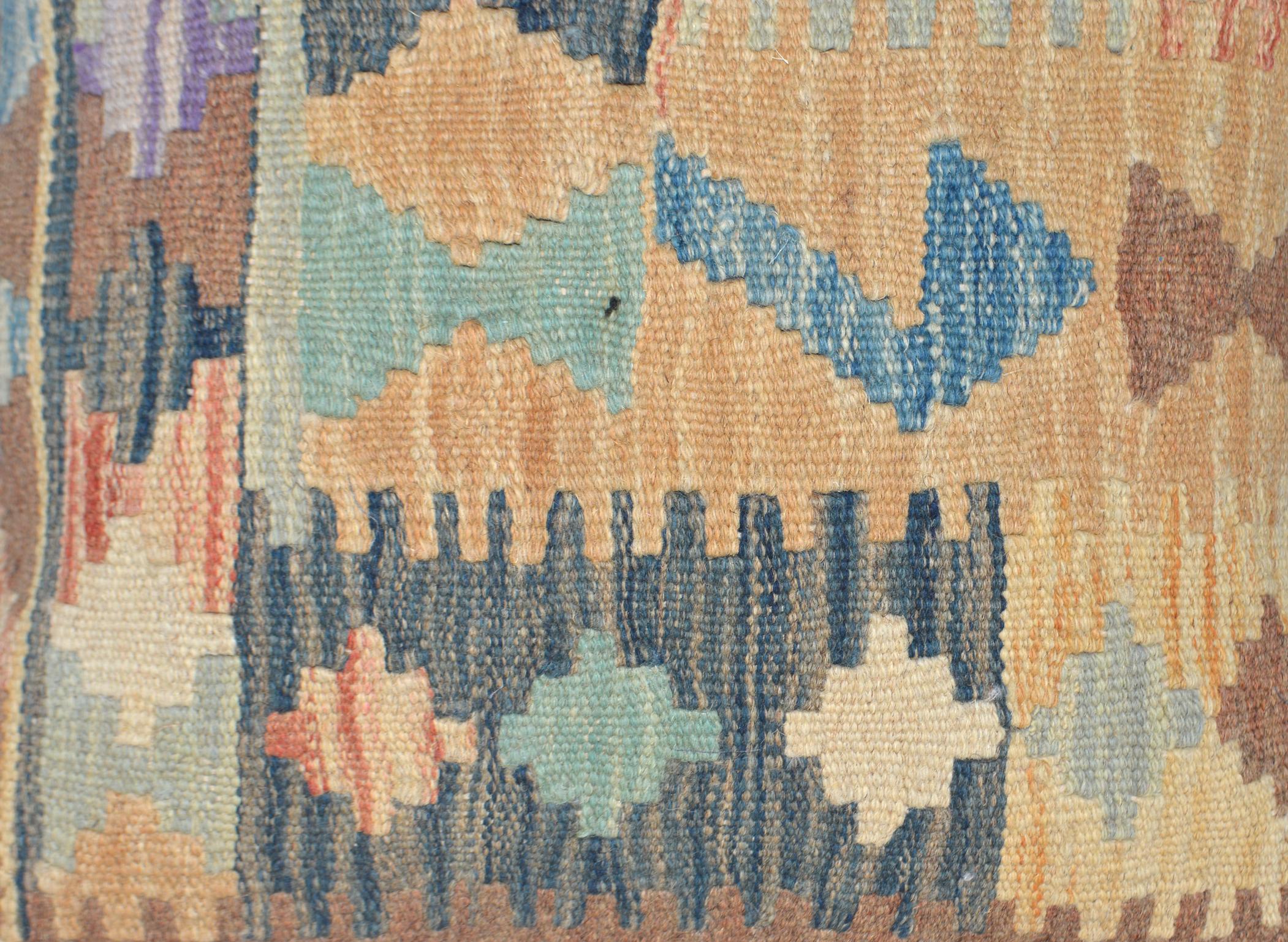 Orientalische Antik Kelim Kissen Unikat aus Wolle, handgewebte Dekokissen, Vintage AKS 022 Größe 45 x 45 cm