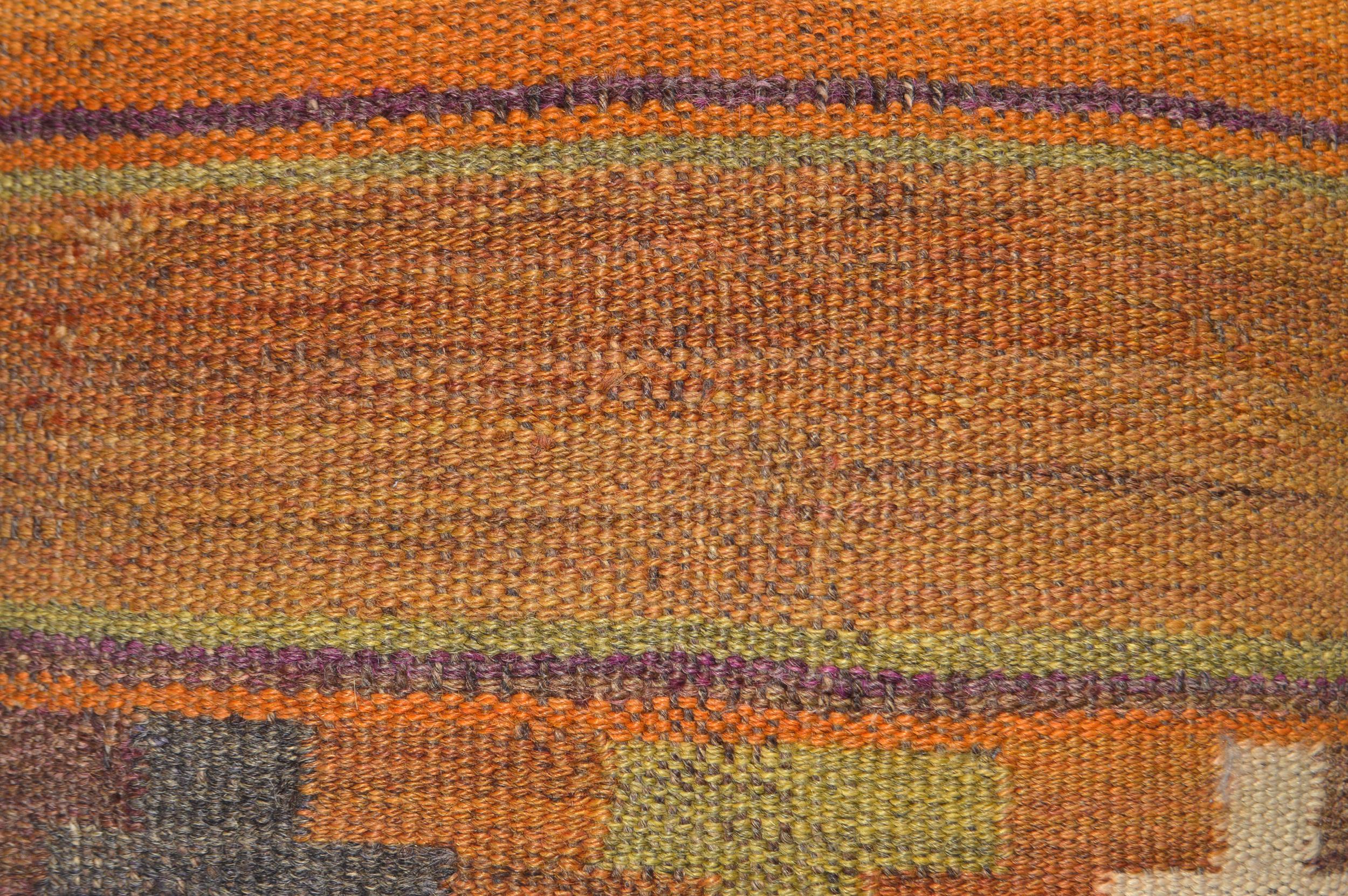 Orientalische Antik Kelim Kissen Unikat aus Wolle, handgewebte Dekokissen, Vintage AKS 021 Größe 43 x 43 cm