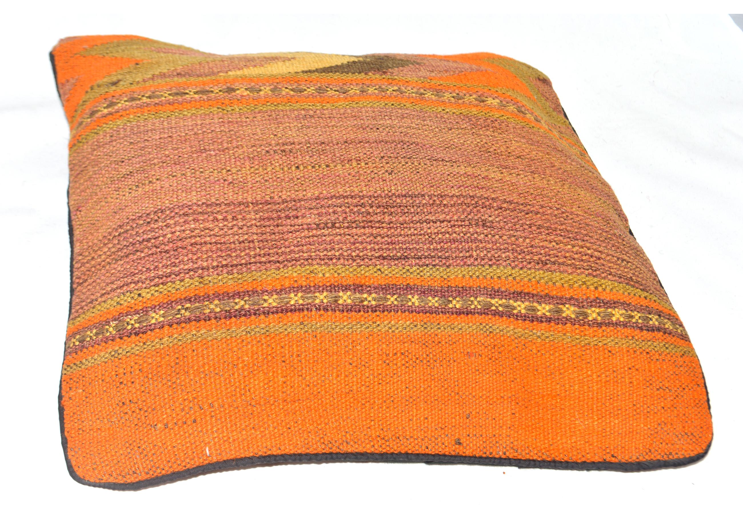Orientalische Antik Kelim Kissen Unikat aus Wolle, handgewebte Dekokissen, Vintage AKS 010 Größe 40 x 40 cm